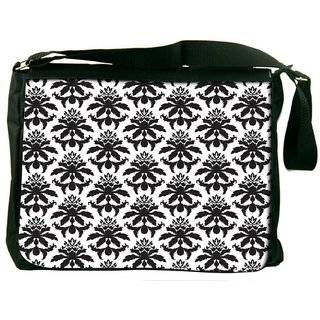 Snoogg Black Hanging Pattern Digitally Printed Laptop Messenger  Bag