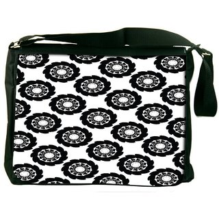 Snoogg Dark Black Pattern Digitally Printed Laptop Messenger  Bag