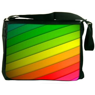 Snoogg Colorful Strips Digitally Printed Laptop Messenger  Bag