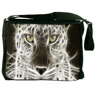 Snoogg Glowing Leopard Digitally Printed Laptop Messenger  Bag