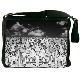 Snoogg Graffiti Black And White Digitally Printed Laptop Messenger  Bag