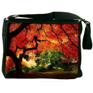 Snoogg Red Leaves In Trees Digitally Printed Laptop Messenger  Bag