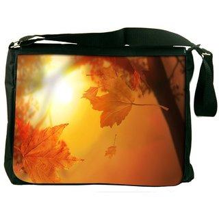 Snoogg Orange Autumn Digitally Printed Laptop Messenger  Bag