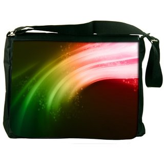 Snoogg Multicolor Strips Digitally Printed Laptop Messenger  Bag