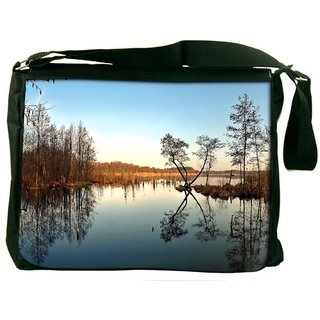 Snoogg Abstract River Digitally Printed Laptop Messenger  Bag