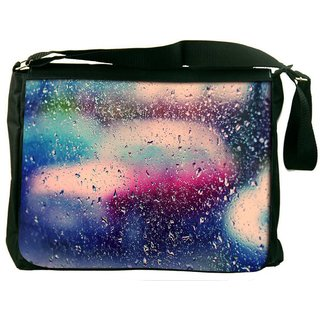 Snoogg Colorful Water Drops Digitally Printed Laptop Messenger  Bag