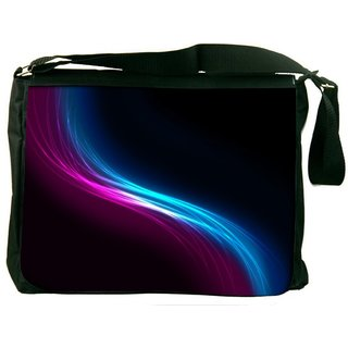 Snoogg Pink And Blue Layer Digitally Printed Laptop Messenger  Bag