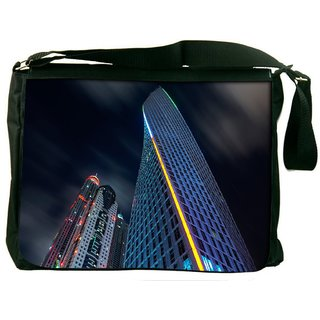 Snoogg Dark Side Of Building Digitally Printed Laptop Messenger  Bag