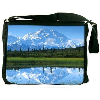 Snoogg White Mountain Digitally Printed Laptop Messenger  Bag