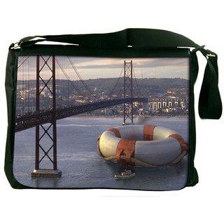 Snoogg Big Tube Digitally Printed Laptop Messenger  Bag