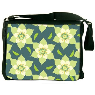 Snoogg Yellow Floral Digitally Printed Laptop Messenger  Bag