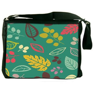 Snoogg Colorful Leaves Digitally Printed Laptop Messenger  Bag