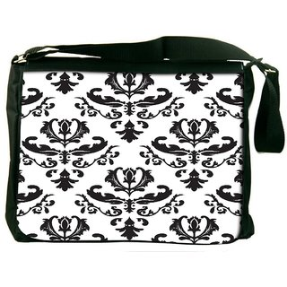 Snoogg Grey White Digitally Printed Laptop Messenger  Bag