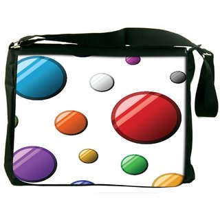 Snoogg Colorful Bubbles Digitally Printed Laptop Messenger  Bag