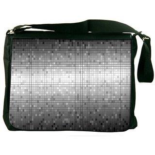 Snoogg Grey Blocks Tiles Digitally Printed Laptop Messenger  Bag