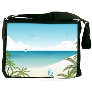 Snoogg Beach Side View Digitally Printed Laptop Messenger  Bag