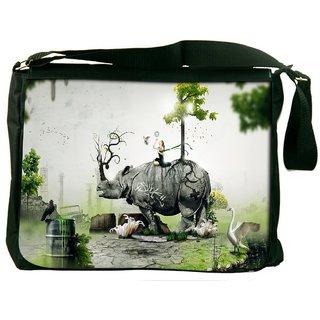 Snoogg Abstract Rhino Digitally Printed Laptop Messenger  Bag