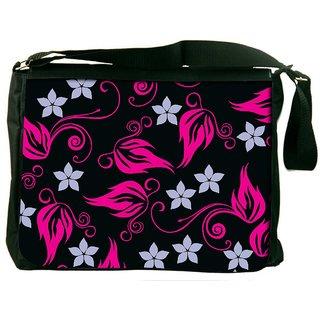 Snoogg Grey Pattern Pink Digitally Printed Laptop Messenger  Bag