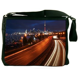 Snoogg Night Roads Digitally Printed Laptop Messenger  Bag