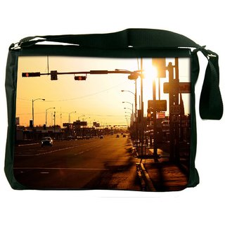 Snoogg Evening Roads Digitally Printed Laptop Messenger  Bag