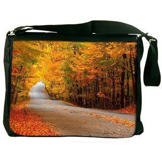 Snoogg Orange Leaves Digitally Printed Laptop Messenger  Bag