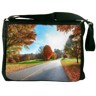 Snoogg Clean Roads Digitally Printed Laptop Messenger  Bag