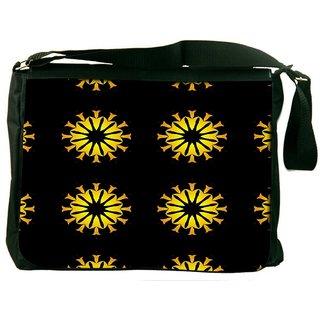 Snoogg Yellow Flower Black Pattern Digitally Printed Laptop Messenger  Bag
