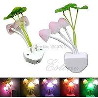 Color Changing Mushroom Style 1/5W 3-Led 5-Lumen Energy Saving Led Night Lamp