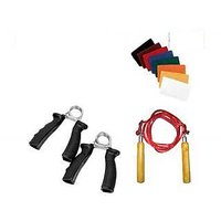 Fitness Basic Needs Skipping Rope+2 Hand Grip Exerciser + Pair Of Sweat Band