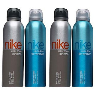 Nike Deodorants 2 Up or Down for Men 2 Up or Down for Women 200ml Each (Pack of 4)