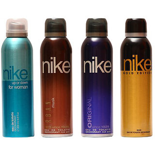Nike Deodorants Urban musk Original for Men and Up or Down Gold Edition for Women 200ml Each (Pack of 4)