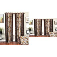ILiv Buy 2 Door And Get 2 Window Curtains - Brownchiku7ftand5ft