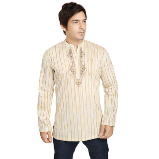 ARCH ELEMENTS Casual cotton Beige Printed Kurta For Mens