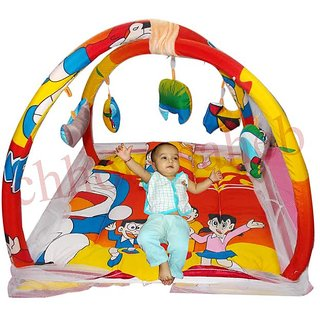 sleeping bed and play gym with pillow and mosquito net protection