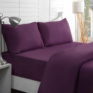 Valtellina Purple Colour Plain 1 Double Bedsheet with 2 Pillow Covers (300 TC)
