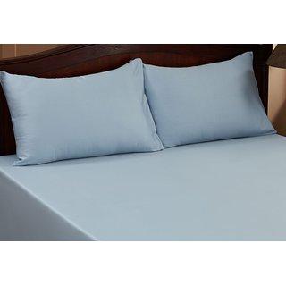 Valtellina Sky Colour Plain 1 Double Bedsheet with 2 Pillow Covers (300 TC)