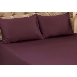 Valtellina Wine Colour Plain 1 Double Bedsheet with 2 Pillow Covers (300 TC)