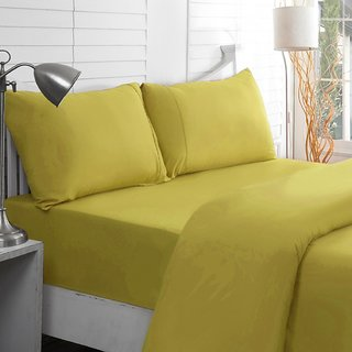 Valtellina Yellow Colour Plain 1 Double Bedsheet with 2 Pillow Covers (300 TC)