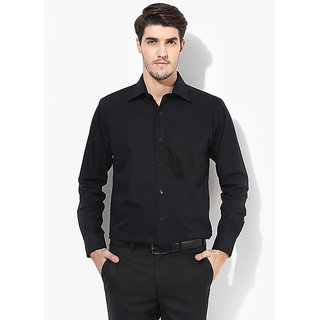 SSB Black  Solid Regular Fit Formal Shirt