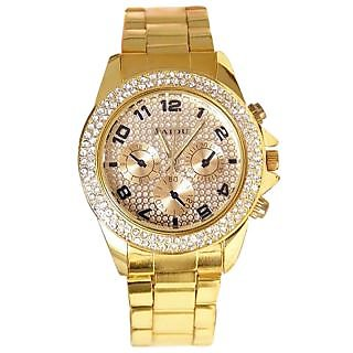 New super selling Paidu Godan Analog Golden Metal Stone Studded Watch - Women