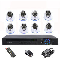 Rapter 960P (1.3 MP) Dome Camera 8 Pcs + 8 Channel AHD DVR + 8 Channel Power Supply + BNC DC Connector