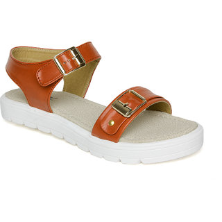 Vendoz Women Tan Sandals VDFL61TN