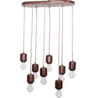 Fos Lighting Modern Wooden 8 Light Hanging Lamp