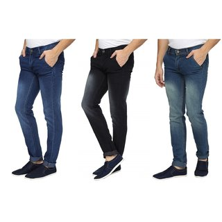 Wajbee Mens Stretchable Slim Fit Faded Jeans-Pack of 3