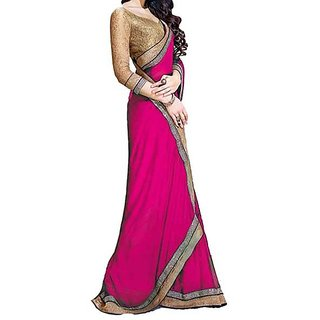 Trendz Apparels Pink Chiffon Embroidered Saree With Blouse
