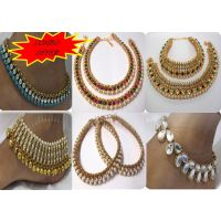 Set of 6 Pearl Stone Kundan Anklets