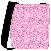 Snoogg Pink Hearts Designer Womens Carry Around Cross Body Tote Handbag Sling Bags RPC-10281-SLTOBAG