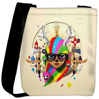 Snoogg Deer Hipster Girl 2620 Designer Womens Carry Around Cross Body Tote Handbag Sling Bags RPC-2620-SLTOBAG