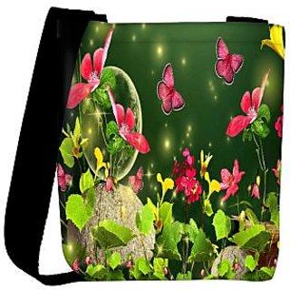 Snoogg Fireflies And Butterflies 2629 Designer Womens Carry Around Cross Body Tote Handbag Sling Bags RPC-2629-SLTOBAG