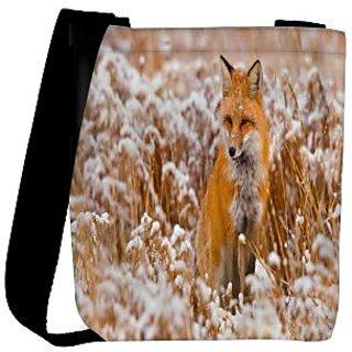 Snoogg Fox In White Garden Designer Womens Carry Around Cross Body Tote Handbag Sling Bags RPC-8511-SLTOBAG